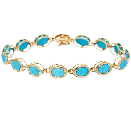 Sleeping Beauty Turquoise 6 3 4 Tennis Bracelet 14k Gold