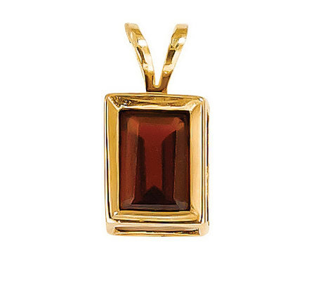 "Emerald-cut Gemstone Pendant with 18"" Chain, 14 K Gold"
