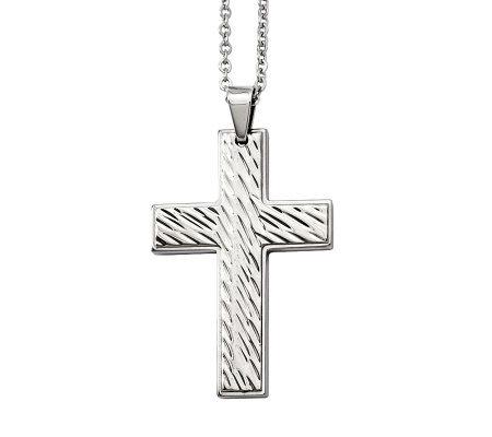 Steel By Design Men S Grooved Cross Pendantw 24 Chain