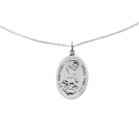"Sterling St. Michael Oval Solid Pendant w/ 18""Chain"