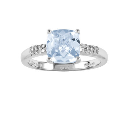 1.90 ct tw Cushion-Cut Aquamarine Ring