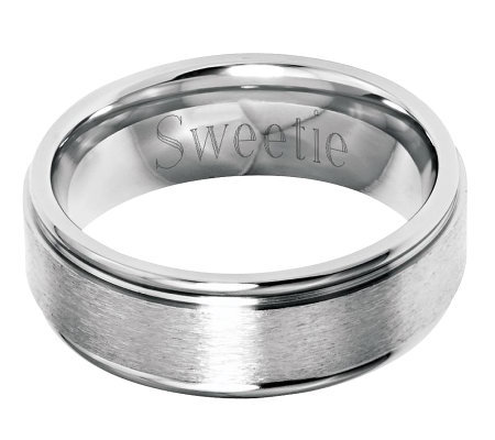 Stainless Steel 8mm Grooved Edge Brushed Engravable Ring