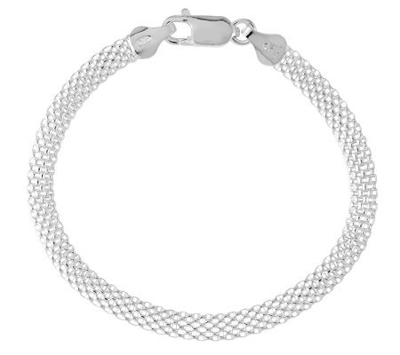 "Sterling 7"" Polished Mesh Bracelet"