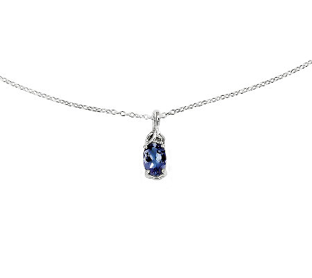 "Sterling Oval Tanzanite Pendant with 18"" Chain"