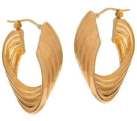 Oro Nuovo 1 4 Polished Ribbed Twist Hoop Earrings 14k