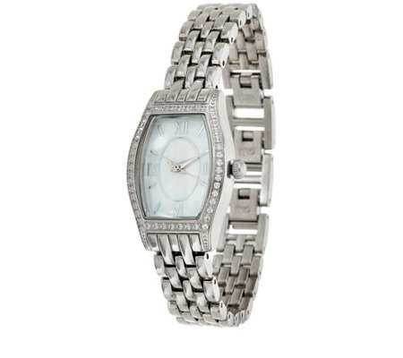 """As Is"" Diamonique Tortue Style Watch with Bracelet Strap"