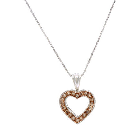 Colored Diamond Heart Pendant on Chain, Sterling, by Affinity