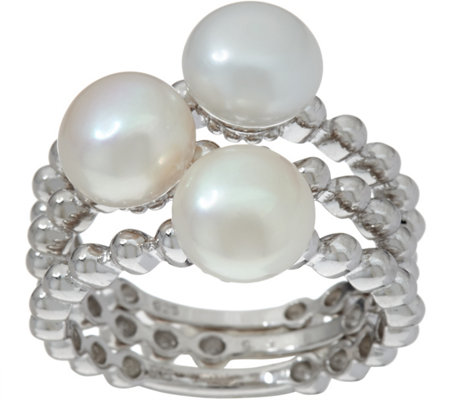 Honora Cultured Pearl Set of 3 Stack Rings, Sterling Silver