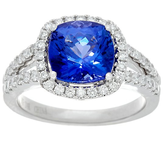 Cushion Cut Tanzanite & Diamond Ring, 14K Gold 3.00 cts