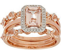 Set of 3 Morganite Stack Rings 14K Gold - J349738
