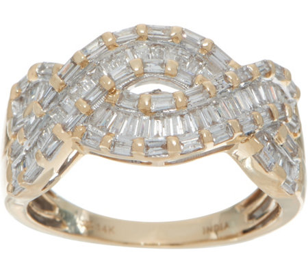 Baguette White Diamond Bold Ring, 14K Gold, 1.00 cttw by Affinity