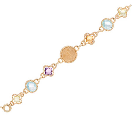 "14K/22K Gold 7-1/4"" Liberty Coin & Gemstone Bracelet"