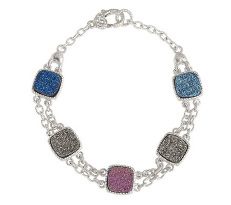 """As Is"" Judith Ripka Drusy Quartz Multi- Color Sterling Toggle Bracelet"
