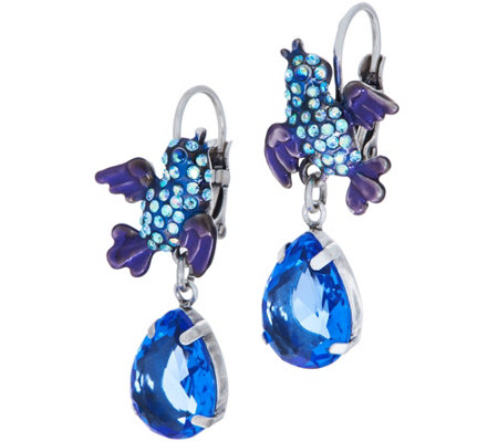 Kirks Folly Blue Bird of Happiness Lever Back Earrings