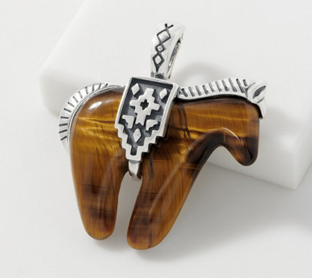 American West Sterling Silver Tiger's Eye Spirit Horse Enhancer