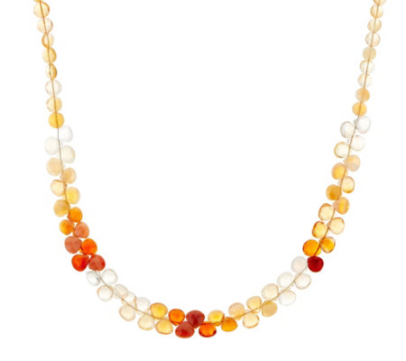 """As Is"" Colors of Fire Opal Bead Necklace, Sterling"