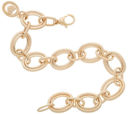 Judith Ripka Verona 14k Gold 8 Oval Link Bracelet 10 4g
