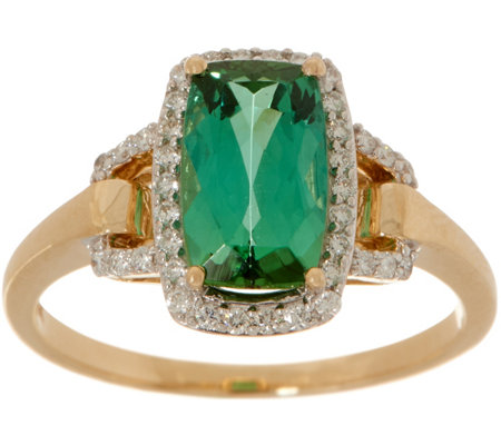 Blue Green Tourmaline Ring, 1.80 cttw, 14K Gold