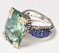Barbara Bixby Sterling Silver 18K Gold Green Flourite Ring 20.00 cttw - J359238