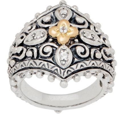 Barbara Bixby Sterling Silver 18K Gold Floral Ring
