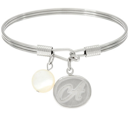 As Is Stainless Steel Initial Charm Bangle