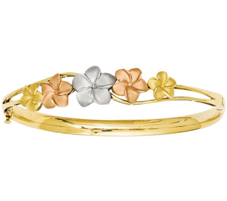 14K Tri-Color Plumeria Bangle, 9.9g