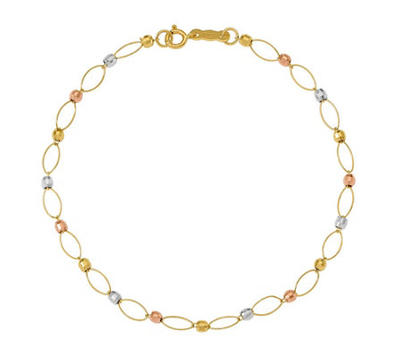 14K Gold Oval Link with Tri-Color Mirror BeadsBracelet, 1.1g