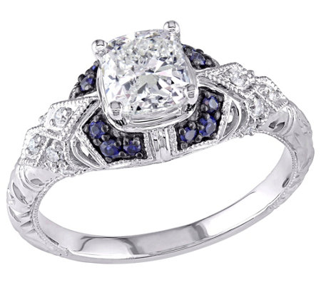 Affinity 14K Gold 1 cttw Diamond w/ Sapphire Vintage Ring
