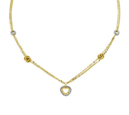 "Italian Gold 17"" Heart & Knot Station Necklace14K, 4.0g"