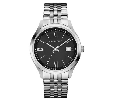 Caravelle Men's Stainless Steel Black Dial Bracelet Watch