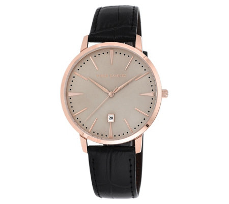 Vince Camuto Men's Rosetone & Black Leather Strap Watch
