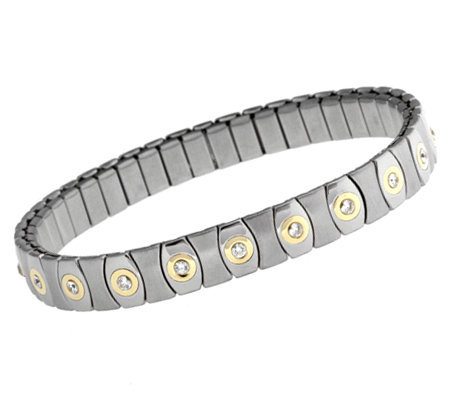 Diamonique Stainless Steel And 14k Gold Stretch Bracelet