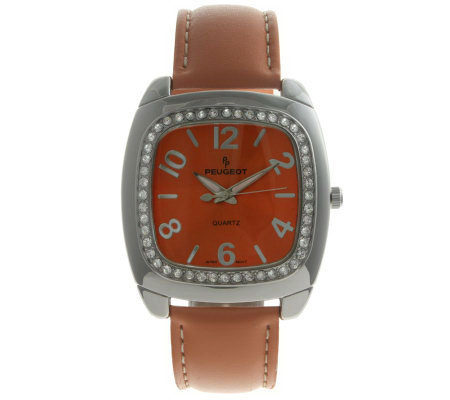 Peugeot Ladies' Crystal Bezel Orange StrapWatch