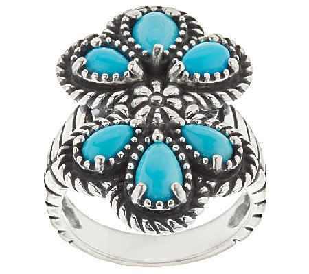 Sleeping Beauty Turquoise Sterling Silver Cluster Ring by American West