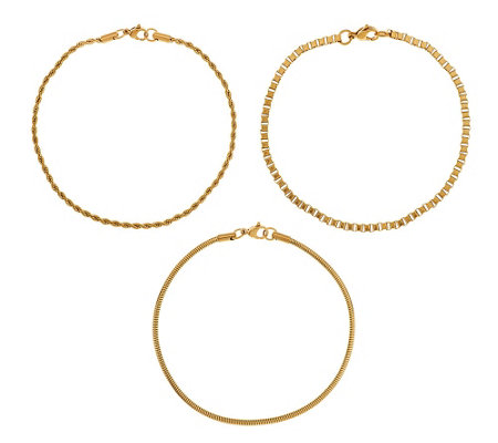 Stainless Steel Set of 3 Goldtone Chain Ankle Bracelets