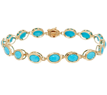 Sleeping Beauty Turquoise 7 1 4 Tennis Bracelet 14k Gold