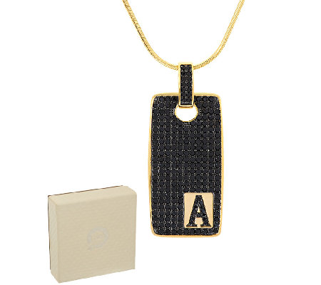 Bronzo Italia 3.50 cttw Black Spinel Yellow Initial Tag Necklace