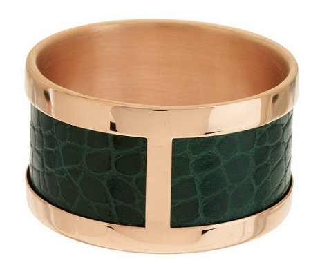 """As Is"" Bronzo Italia Average Leather Inlay Round Bangle"