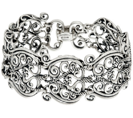 Carolyn Pollack Sterling Silver Signature Link Avg Bracelet 51 0g