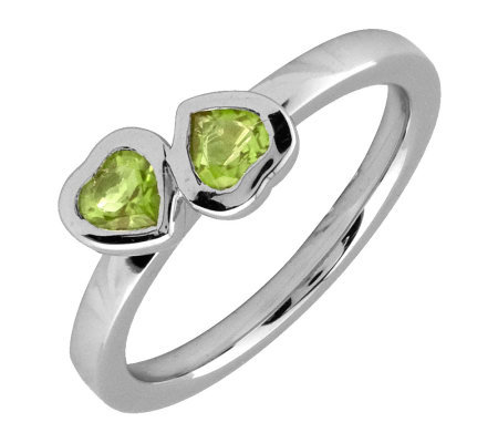 Simply Stacks Sterling & Peridot Double-Heart Ring