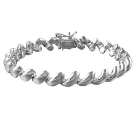 "UltraFine Silver 8"" Polished San Marco Bracelet18.8g"