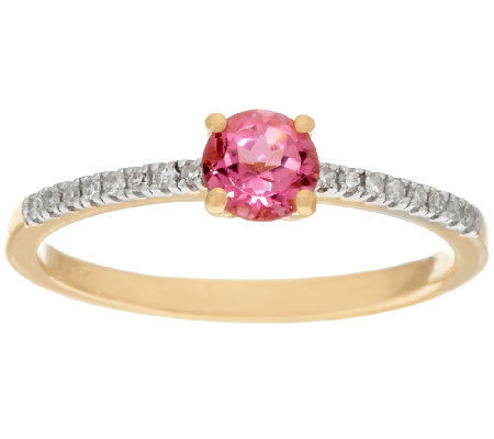 Pink Tourmaline & Diamond Solitaire Ring 14K Gold 0.30 ct