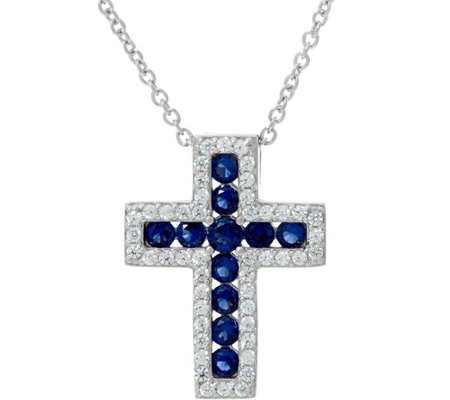 Diamonique & Simulated Gemstone Cross Pendant w/ Chain, Sterling