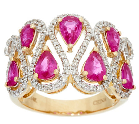 Pear Cut Mozambique Ruby &  Diamond Wide Ring, 14K 2.00 cttw