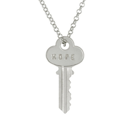 "The Giving Keys Silvertone 'HOPE' Key Pendant with 30"" Rolo Chain"