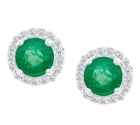 Premier Round Emerald & Diamond Halo Stud Earrings, 14K