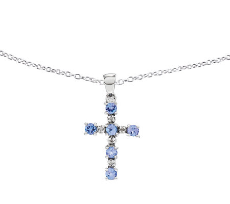 "Sterling Tanzanite Cross Pendant w/ 18"" Chain"