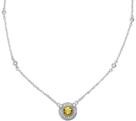 Judith Ripka Sterling Citrine Halo Pendant Necklace