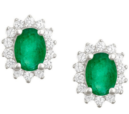 Premier 7x5mm Oval Emerald & Diamond Earrings,14K