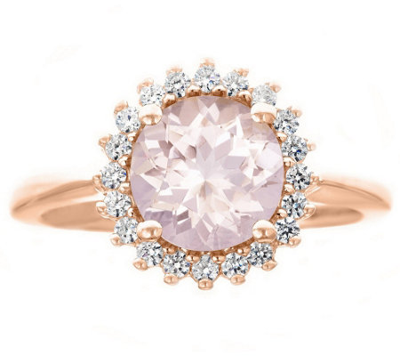 Premier 1.50cttw Round Morganite & Diamond Ring, 14K